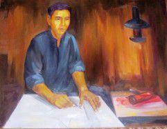 Chân dung liệt sĩ Nguyễn Hữu Tiến đang ngồi vẽ cờ (tác phẩm của cố nhạc sĩ Văn Cao).